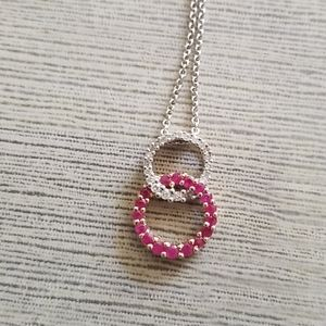 Jewelry - 14 k white gold diamond and ruby pendent